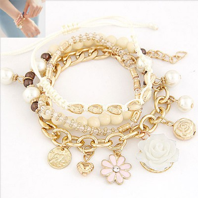 Single Beige Multielement Decorated Multilayer Design Alloy Korean Fashion Bracelet