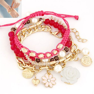 Arrowhead Plum Red Multielement Decorated Multilayer Design Alloy Korean Fashion Bracelet