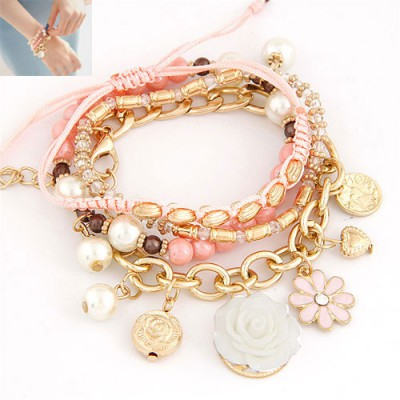 Diy Pink Multielement Decorated Multilayer Design Alloy Korean Fashion Bracelet