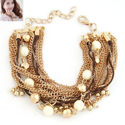Claddagh Beige Beads Decorated Multilayer Chain Design Alloy Korean Fashion Bracelet