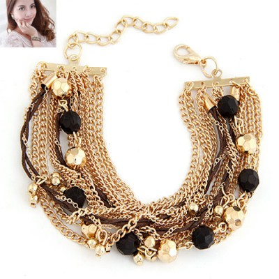 Sapphire Black Beads Decorated Multilayer Chain Design Alloy Korean Fashion Bracelet