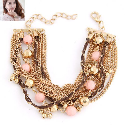 Fantastic Pink Beads Decorated Multilayer Chain Design Alloy Korean Fashion Bracelet