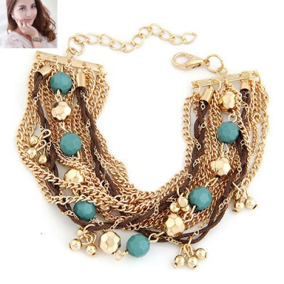 Rave Blue Beads Decorated Multilayer Chain Design Alloy Korean Fashion Bracelet