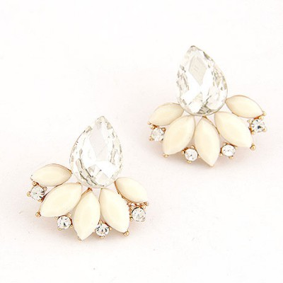Athletic Beige Gemstone Decorated Leaf Temperament Design