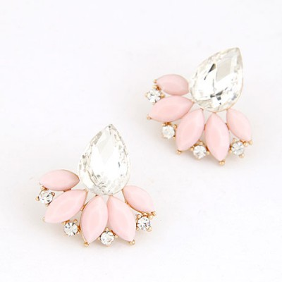 Wrap Pink Gemstone Decorated Leaf Temperament Design
