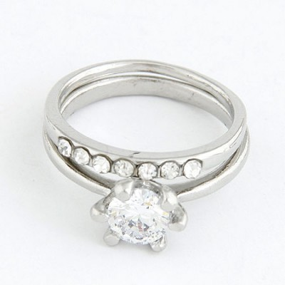 Memorial Silver Color Sparkly Zircon Combination Design Alloy Korean Rings