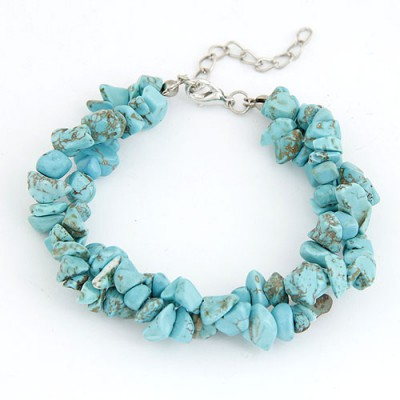 Designer Blue Bohemian Style Double Layer Rubble Design Alloy Korean Fashion Bracelet