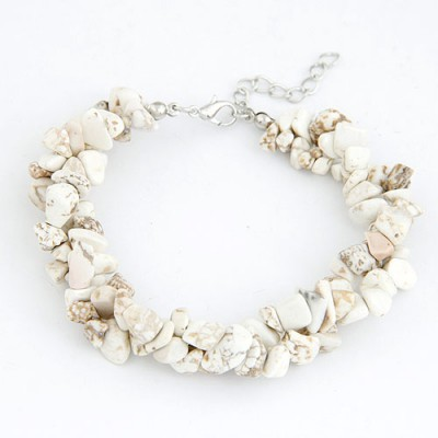 Noble Beige Bohemian Style Double Layer Rubble Design Alloy Korean Fashion Bracelet