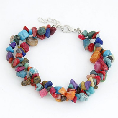 Guardian Multicolor Bohemian Style Double Layer Rubble Design Alloy Korean Fashion Bracelet
