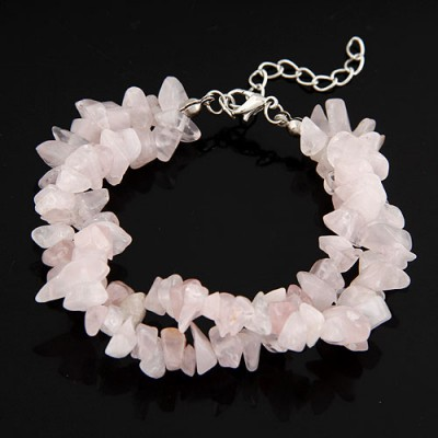 Ruby Transparent Bohemian Style Double Layer Rubble Design Alloy Korean Fashion Bracelet