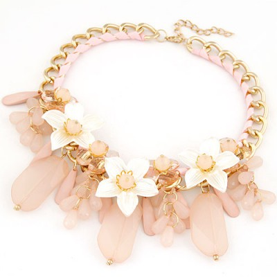 Marvelous Pink Jelly Color Bead And Flower Decorated Alloy Bib Necklaces