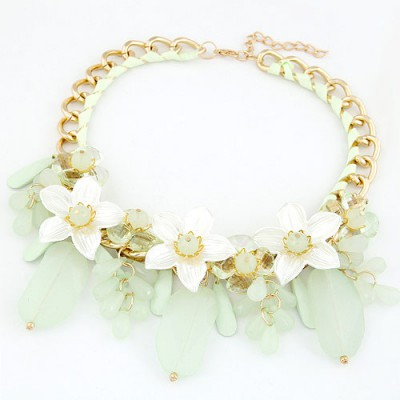 Kids Light Green Jelly Color Bead And Flower Decorated Alloy Bib Necklaces