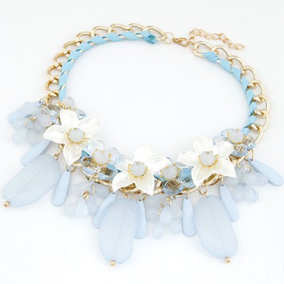 Charm Blue Jelly Color Bead And Flower Decorated Alloy Bib Necklaces