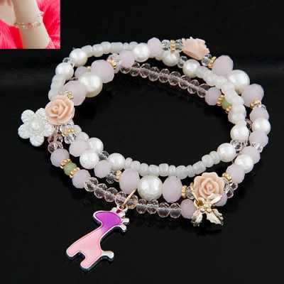 Fake Pink Flower&Deer Decorated Multilayer Design Crystal Shell Korean Fashion Bracelet
