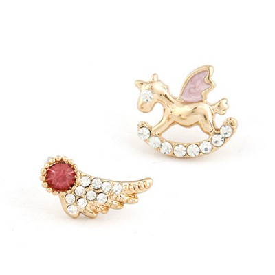 Stretch Red Horse&Wing Asymmetric Design Alloy Stud Earrings