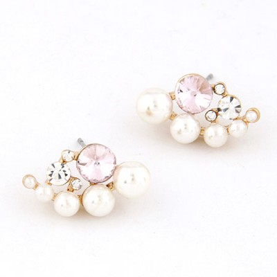 Sapphire Pink Sweet Pearl Drill Design Alloy Stud Earrings