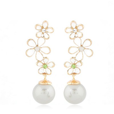 Nautical White Snowflake Pearl Long Design Alloy Stud Earrings