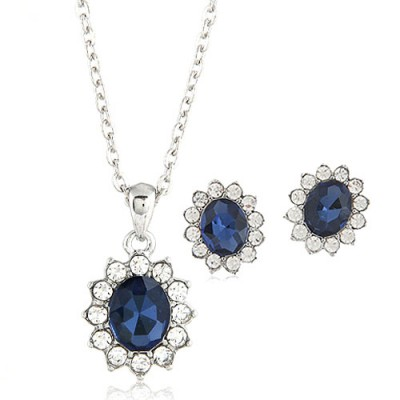 Marathon Blue Oval Shape Gemstone Pendant Alloy Jewelry Sets