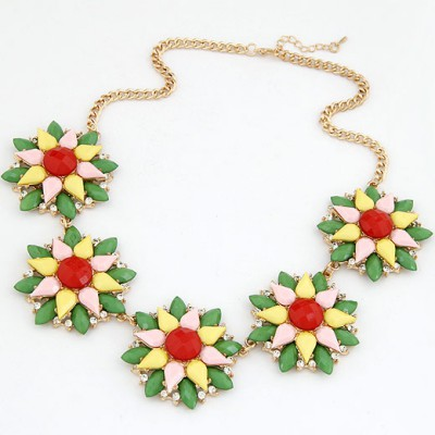 Liquid Multicolor Multilayer Petals Five Flowers Decorated Alloy Bib Necklaces