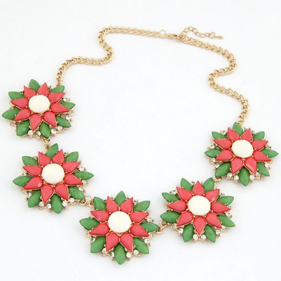 Cargo Multicolor Multilayer Petals Five Flowers Decorated Alloy Bib Necklaces