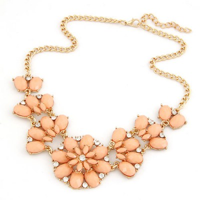 Oval Orange Metal Inlaid Gemstone Flower Design Alloy Bib Necklaces
