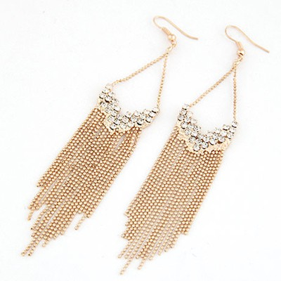 Bodybuildi Gold Color Inlaid Drill Tassel Design Alloy Korean Earrings