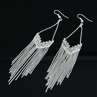 Digital Silver Color Inlaid Drill Tassel Design Alloy Korean Earrings