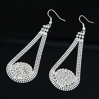 Birthing Silver Color Drill Decorated Water Drop Shape Design Alloy Korean Earrings