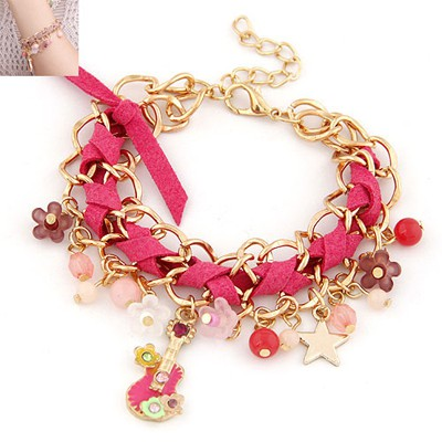 Gothic Plum Red Multielement Decorated Chain Weave Design Alloy Korean Fashion Bracelet