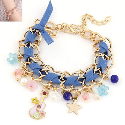 Wishbone Blue Multielement Decorated Chain Weave Design Alloy Korean Fashion Bracelet