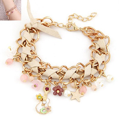 Lilac Beige Multielement Decorated Chain Weave Design Alloy Korean Fashion Bracelet
