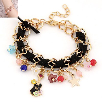 Ruby Black Multielement Decorated Chain Weave Design Alloy Korean Fashion Bracelet