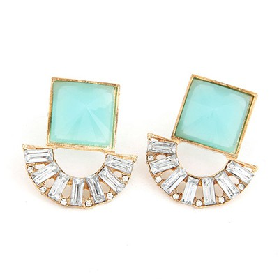 Specialty Blue Square Gemstone Decorated Alloy Stud Earrings