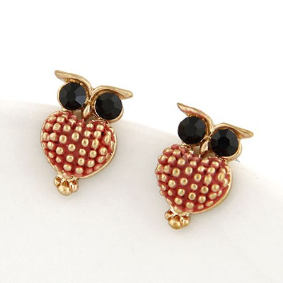 Inspiratio Gold Color Lovely Owl Shape Design Alloy Stud Earrings