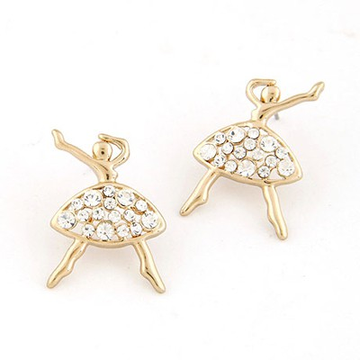 Wedding Gold Color Inlaid Drill Ballet Girl Shape Design Alloy Stud Earrings