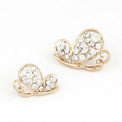 Emerald Gold Color Inlaid Drill Asymmetric Butterfly Shape Design Alloy Stud Earrings