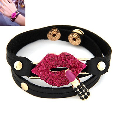 Gorgeous Plum Red Inlaid Drill Lip&Lipstick Decorated Alloy Korean Fashion Bracelet