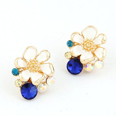 Chiropract Ocean Blue Sparkly Flower Shape Design Alloy Stud Earrings