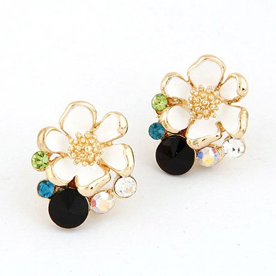 Roller Black Sparkly Flower Shape Design Alloy Stud Earrings
