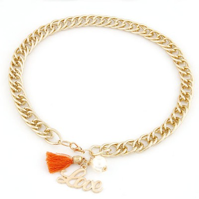 Modern Orange Letter Love&Tassel Decorated Chain Design Alloy Chains