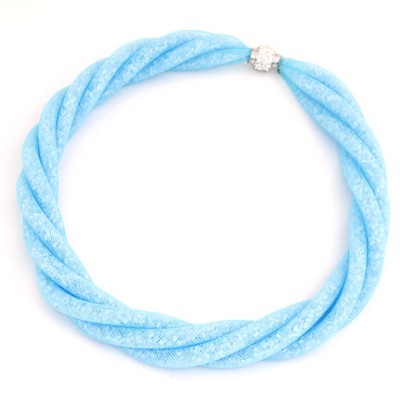 Classical Blue Candy Color Multilayer Mesh Beads Twist Design Alloy Chokers