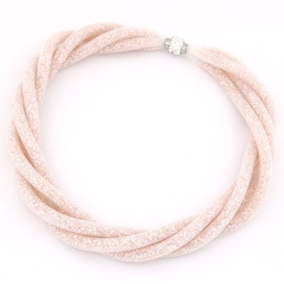 University Pink Candy Color Multilayer Mesh Beads Twist Design Alloy Chokers