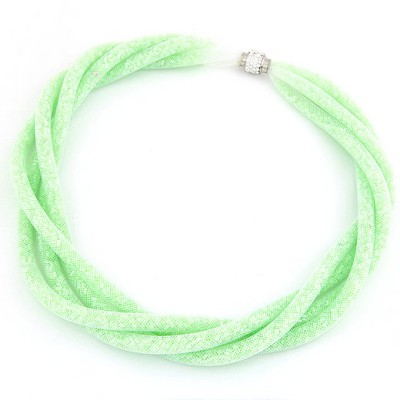 Vintage Green Candy Color Multilayer Mesh Beads Twist Design Alloy Chokers