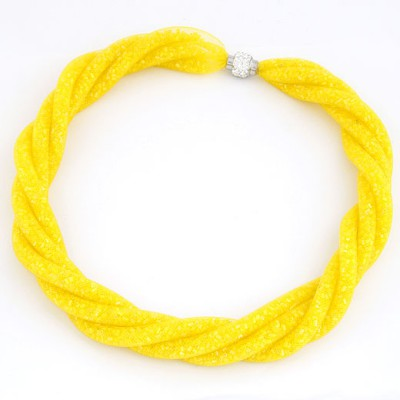 Evil Yellow Candy Color Multilayer Mesh Beads Twist Design Alloy Chokers