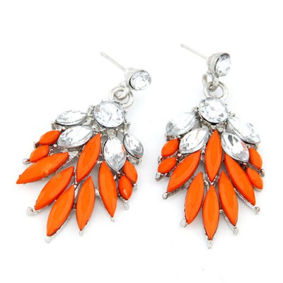 Statement Orange Bohemia  Leaves Temperament Design Alloy Stud Earrings
