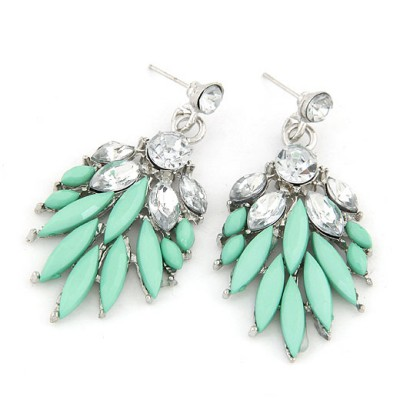 Estate Blue Bohemia  Leaves Temperament Design Alloy Stud Earrings