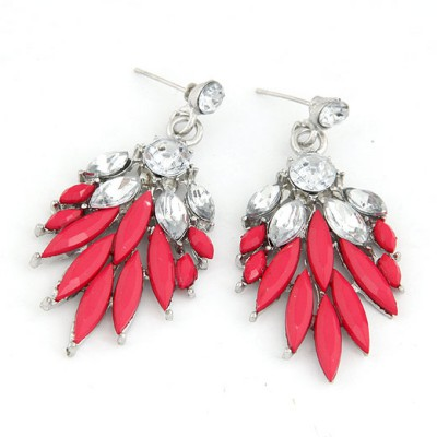 Profession Red Bohemia  Leaves Temperament Design Alloy Stud Earrings