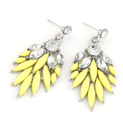 Personal Yellow Bohemia  Leaves Temperament Design Alloy Stud Earrings