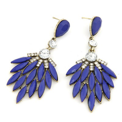Fitness Dark Blue Bohemia  Leaves Temperament Design Alloy Stud Earrings