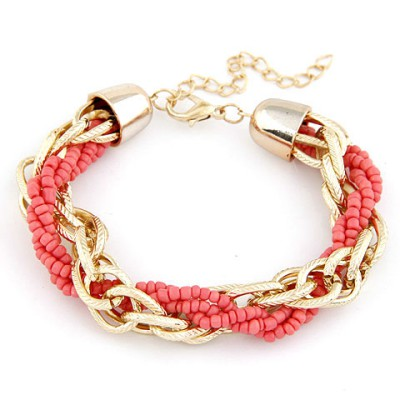 Guardian Orange Metal Chain Twisted Beads Design Alloy Korean Fashion Bracelet